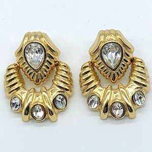 Whiting & Davis Earrings Faceted Clear Rhinestone